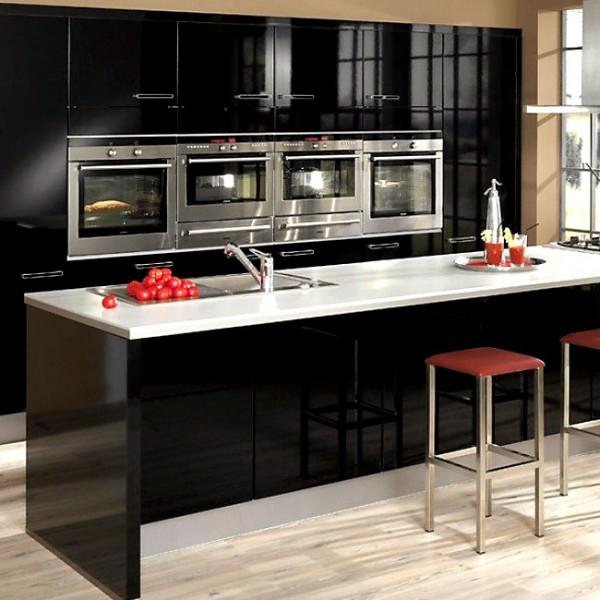 Black Kitchen Cabinet Doors: Slab Kitchen Cabinet Door In Solid Black