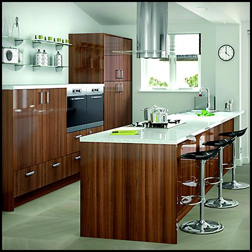 Slab Kitchen Cabinet Door In Wooden Dark Brown