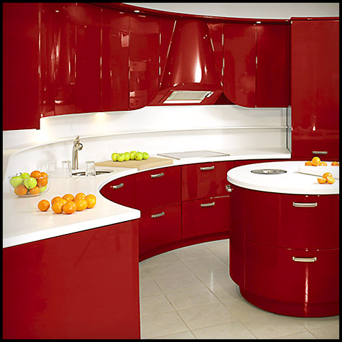 Slab Kitchen Cabinet Door in Solid Red