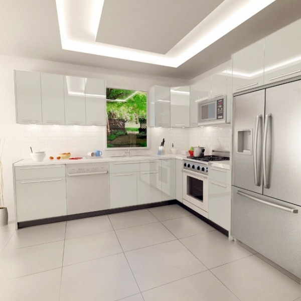 slab kitchen cabinet door in solid white akc