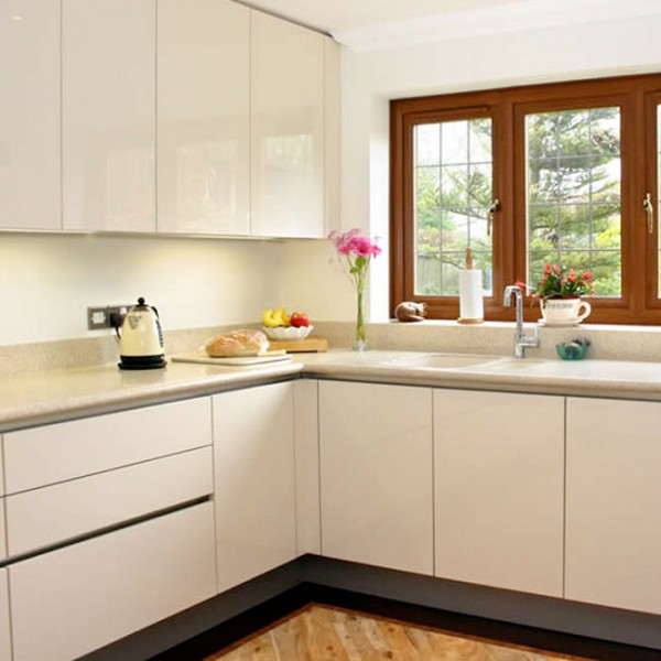 White Slab Kitchen Cabinet Doors Slab Kitchen CabiDoor in Sparkle off White   AKC