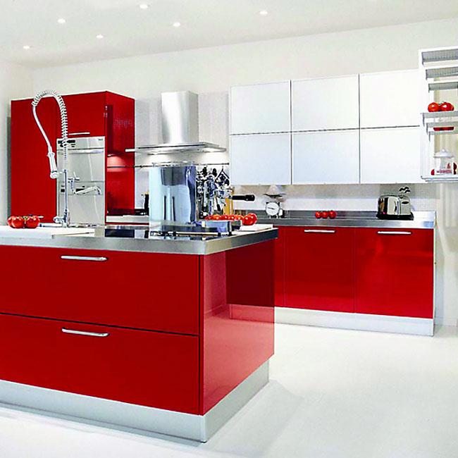 Slab Kitchen Cabinet Door In Sparkle Red